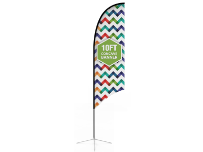 10ft Concave Feather Flag with Cross Base & Water Bag