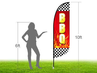 10ft BBQ Stock Blade Flag with Ground Stake 02