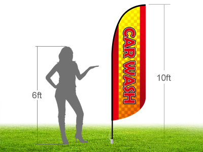 10ft CAR WASH Stock Blade Flag with Ground Stake 01