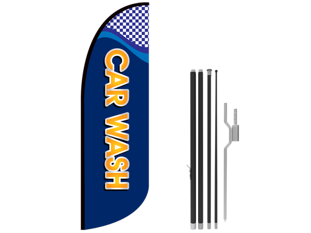 10ft CAR WASH Stock Blade Flag with Ground Stake 03