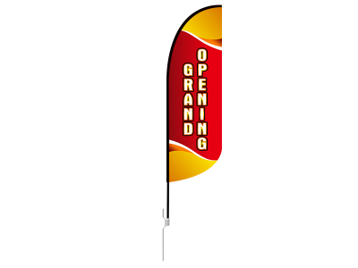10ft GRAND OPENING Stock Blade Flag with Ground Stake 02