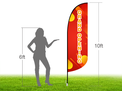 10ft GRAND OPENING Stock Blade Flag with Ground Stake 03