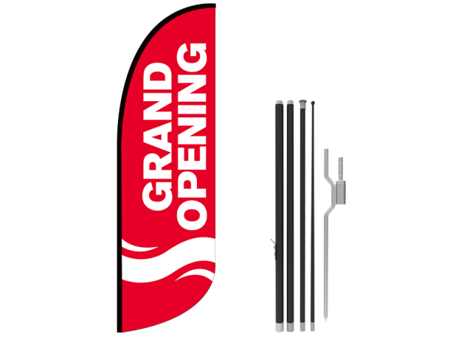 10ft GRAND OPENING Stock Blade Flag with Ground Stake 04