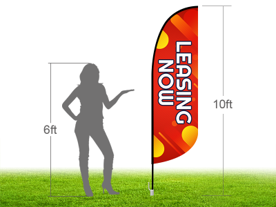 10ft NOW LEASING Stock Blade Flag with Ground Stake 03