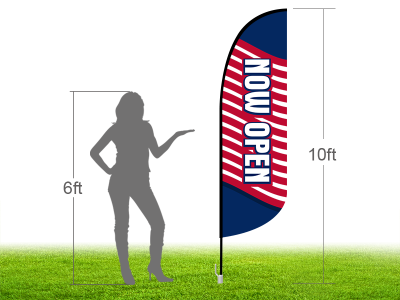 10ft NOW OPEN Stock Blade Flag with Ground Stake 01