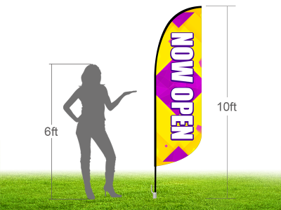 10ft NOW OPEN Stock Blade Flag with Ground Stake 04