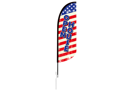 10ft OPEN HOUSE Stock Blade Flag with Ground Stake 01