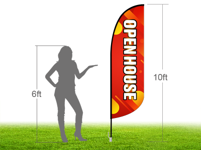 10ft OPEN HOUSE Stock Blade Flag with Ground Stake 04