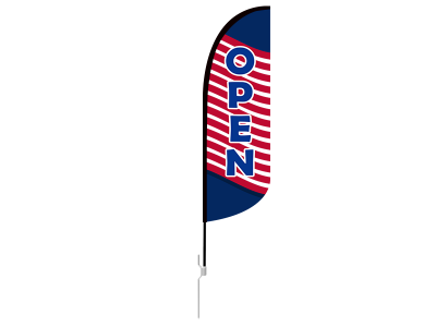 10ft OPEN Stock Blade Flag with Ground Stake 02
