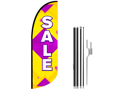 10ft SALE Stock Blade Flag with Ground Stake 01