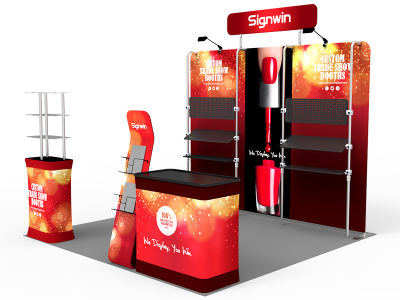 10x10ft Custom Multi-way Shelving Hangers Tension Fabric Trade Show Display Booth Kit E (Frame + Graphic)