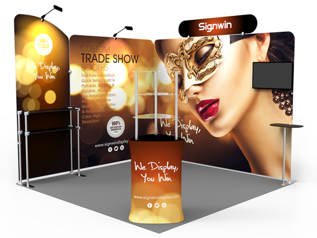 10x10ft Custom Corner & Element Trade Show Booth T