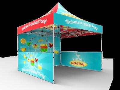 10x10 Custom Pop Up Canopy Tent & Double-Sided Full Backwall & 2 x Double-Sided Half Sidewalls