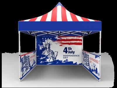 10x10 Custom Pop Up Canopy Tent & Single-Sided Full Backwall & 2 x Double-Sided Half Sidewalls