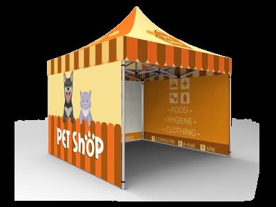 10x10 Custom Pop Up Canopy Tent & Double-Sided Full Backwall & 2 x Double-Sided Full Sidewalls