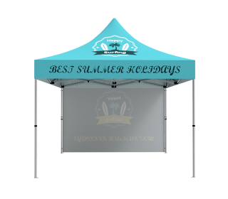 10x10 Custom Pop Up Canopy Tent & Single-Sided Full Backwall