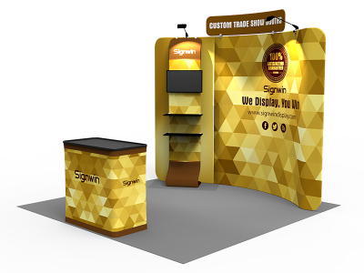 10x10ft Standard Waterfall Monitor Trade Show Booth 16