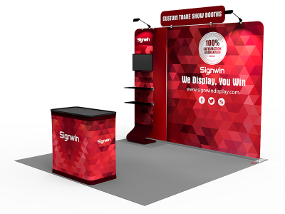 Custom 10x10ft Standard Tension Fabric Printing Waterfall Monitor Trade Show Booth Kit 17 (Frame + Graphic)