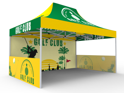 10x15 Custom Pop Up Canopy Tent & Single-Sided Full Backwall & 2 x Single-Sided Half Sidewalls