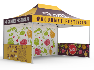 10x15 Custom Pop Up Canopy Tent & Single-Sided Full Backwall & 2 x Double-Sided Half Sidewalls
