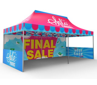 10x20 Custom Pop Up Canopy Tent & Double-Sided Full Backwall & 2 x Double-Sided Half Sidewalls