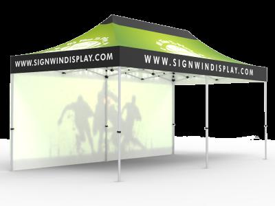 10x20 Custom Pop Up Canopy Tent & Single-Sided Full Backwall