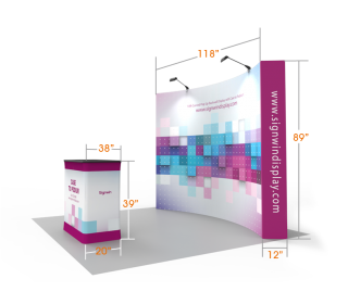 Custom 10ft Curved & Printing Fabric Pop Up Trade Show Booth Backwall Display with Premium Case to Podium (Frame + Graphic)