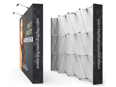 Custom 10ft Straight & Solid Fabric Pop Up Trade Show Backwall Display (Frame + Graphic)