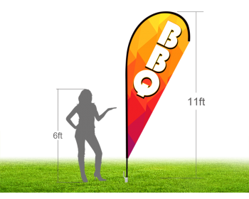 11ft BBQ Stock Teardrop Flag with Ground Stake 01