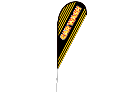 11ft CAR WASH Stock Teardrop Flag with Ground Stake 01