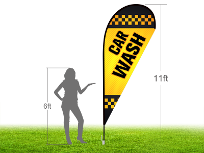 11ft CAR WASH Stock Teardrop Flag with Ground Stake 02