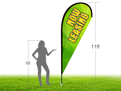 11ft NOW LEASING Stock Teardrop Flag with Ground Stake 01
