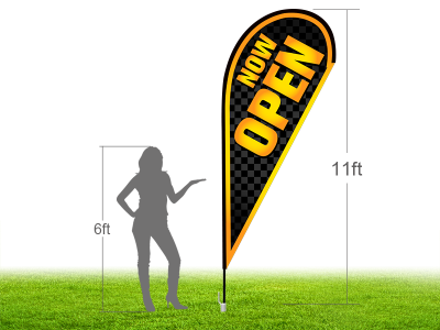 11ft NOW OPEN Stock Teardrop Flag with Ground Stake 02