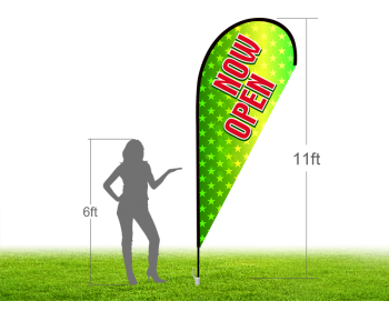 11ft NOW OPEN Stock Teardrop Flag with Ground Stake 03