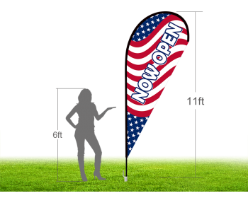 11ft NOW OPEN Stock Teardrop Flag with Ground Stake 04