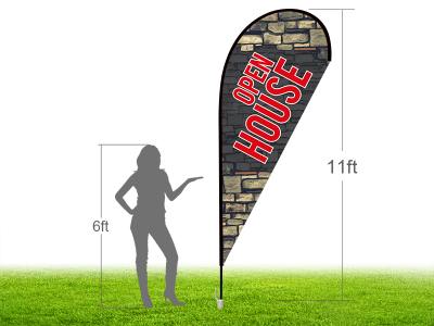 11ft OPEN HOUSE Stock Teardrop Flag with Ground Stake 03