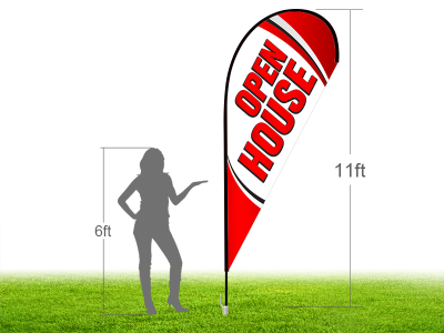 11ft OPEN HOUSE Stock Teardrop Flag with Ground Stake 04
