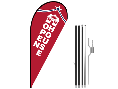 11ft OPEN HOUSE Stock Teardrop Flag with Ground Stake 06
