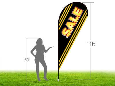 11ft SALE Stock Teardrop Flag with Ground Stake 02