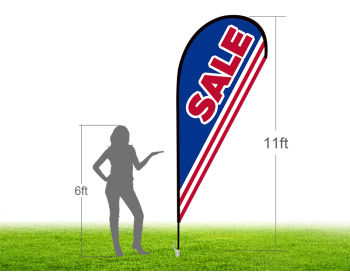 11ft SALE Stock Teardrop Flag with Ground Stake 03
