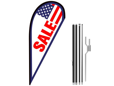 11ft SALE Stock Teardrop Flag with Ground Stake 05