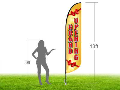13ft GRAND OPENING Stock Blade Flag with Ground Stake 02