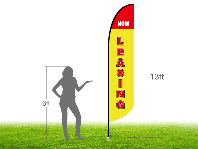 13ft NOW LEASING Stock Blade Flag with Ground Stake 01