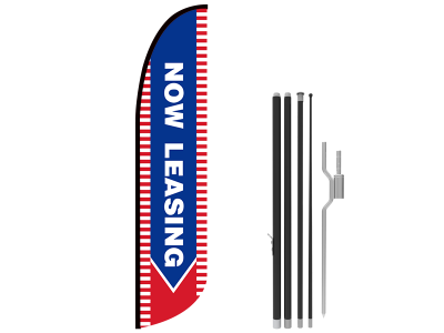 13ft NOW LEASING Stock Blade Flag with Ground Stake 04