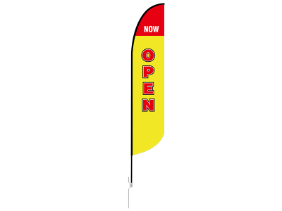 13ft NOW OPEN Stock Blade Flag with Ground Stake 01