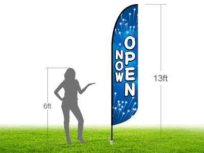 13ft NOW OPEN Stock Blade Flag with Ground Stake 02