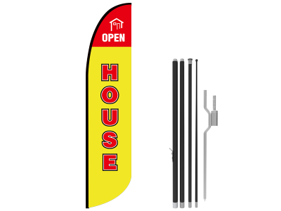 13ft OPEN HOUSE Stock Blade Flag with Ground Stake 01