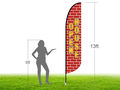 13ft OPEN HOUSE Stock Blade Flag with Ground Stake 03