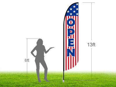 13ft OPEN Stock Blade Flag with Ground Stake 01