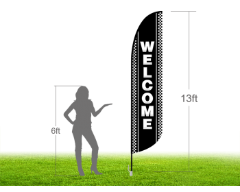 13ft WELCOME Stock Blade Flag with Ground Stake 04